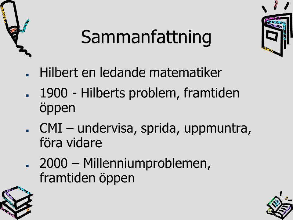 Sammanfattning Hilbert en ledande matematiker
