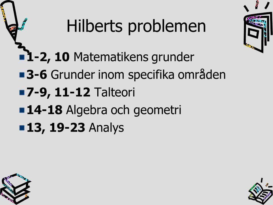 Hilberts problemen 1-2, 10 Matematikens grunder
