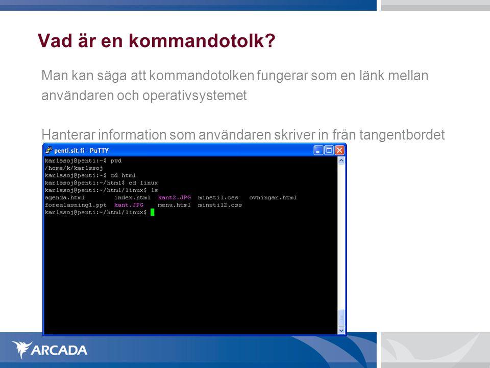 Vad är en kommandotolk Man kan säga att kommandotolken fungerar som en länk mellan. användaren och operativsystemet.