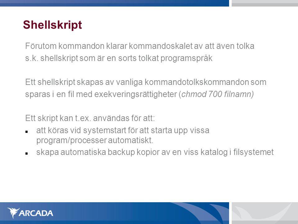 Shellskript Förutom kommandon klarar kommandoskalet av att även tolka