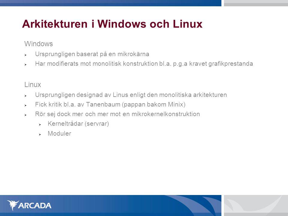 Arkitekturen i Windows och Linux