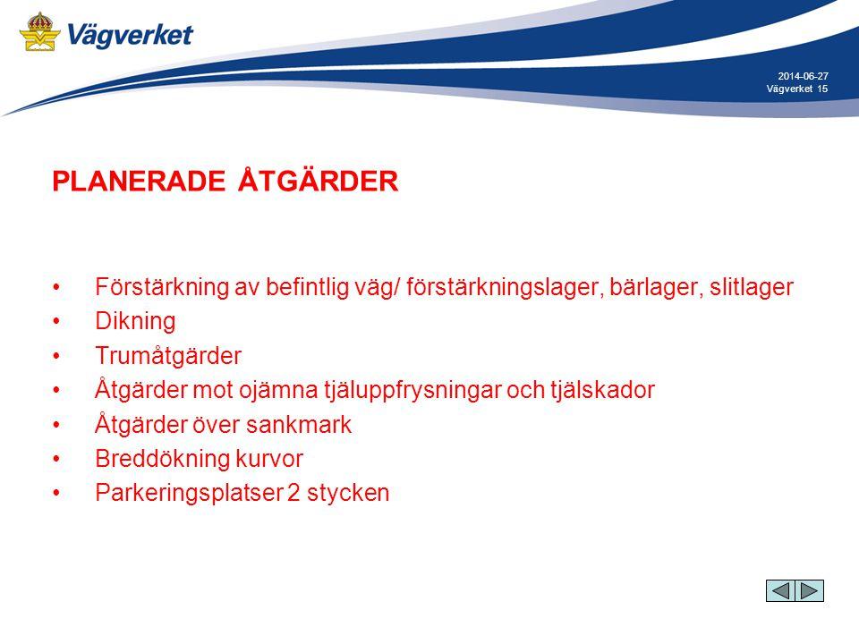2017-04-03 Vägverket. PLANERADE ÅTGÄRDER. Förstärkning av befintlig väg/ förstärkningslager, bärlager, slitlager.