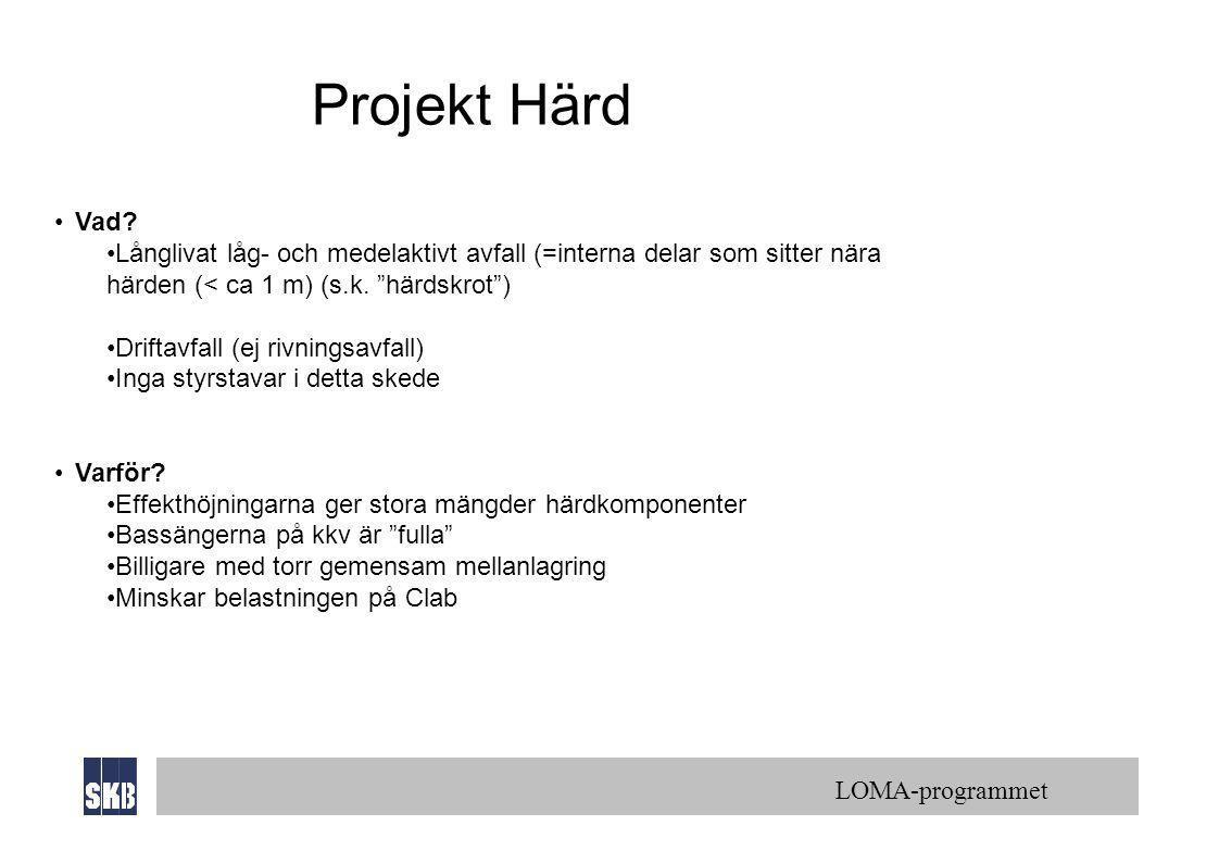 Projekt Härd Vad Långlivat låg- och medelaktivt avfall (=interna delar som sitter nära härden (< ca 1 m) (s.k. härdskrot )