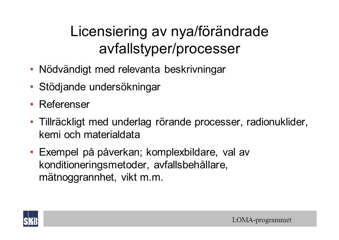 Licensiering av nya/förändrade avfallstyper/processer