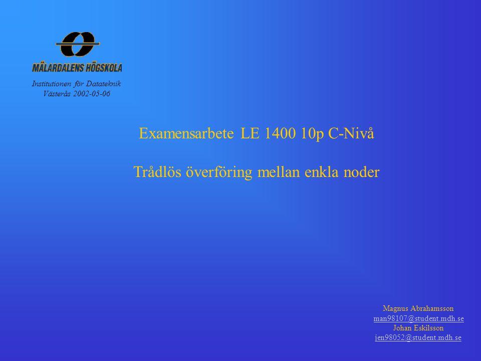 Examensarbete LE 1400 10p C-Nivå Trådlös överföring mellan enkla noder