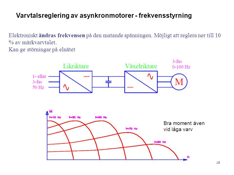 Varvtalsreglering av asynkronmotorer - frekvensstyrning