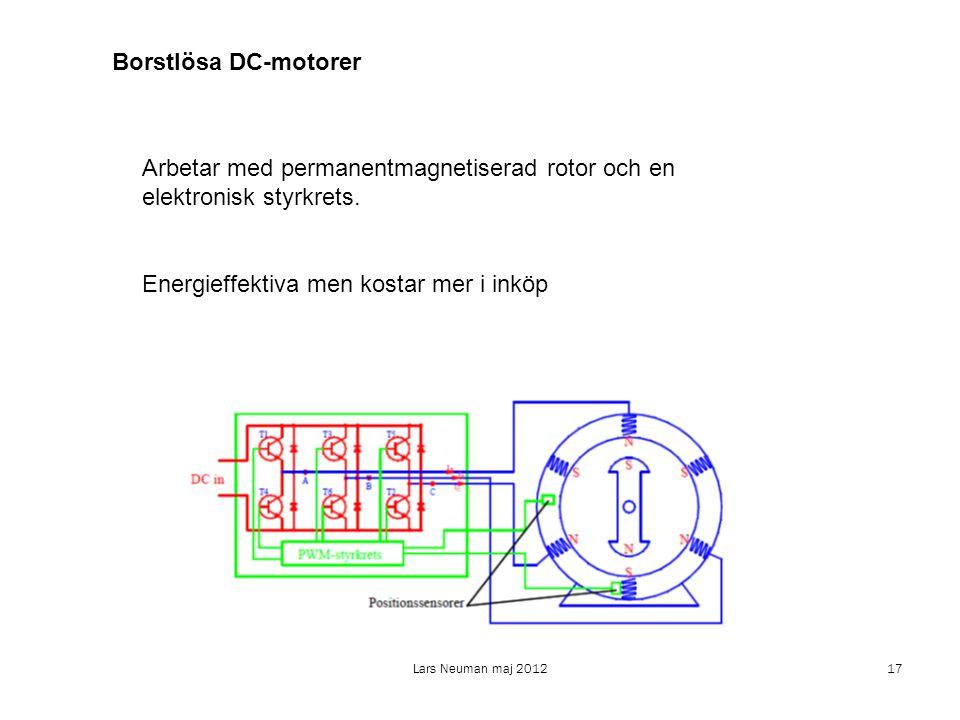 Arbetar med permanentmagnetiserad rotor och en elektronisk styrkrets.