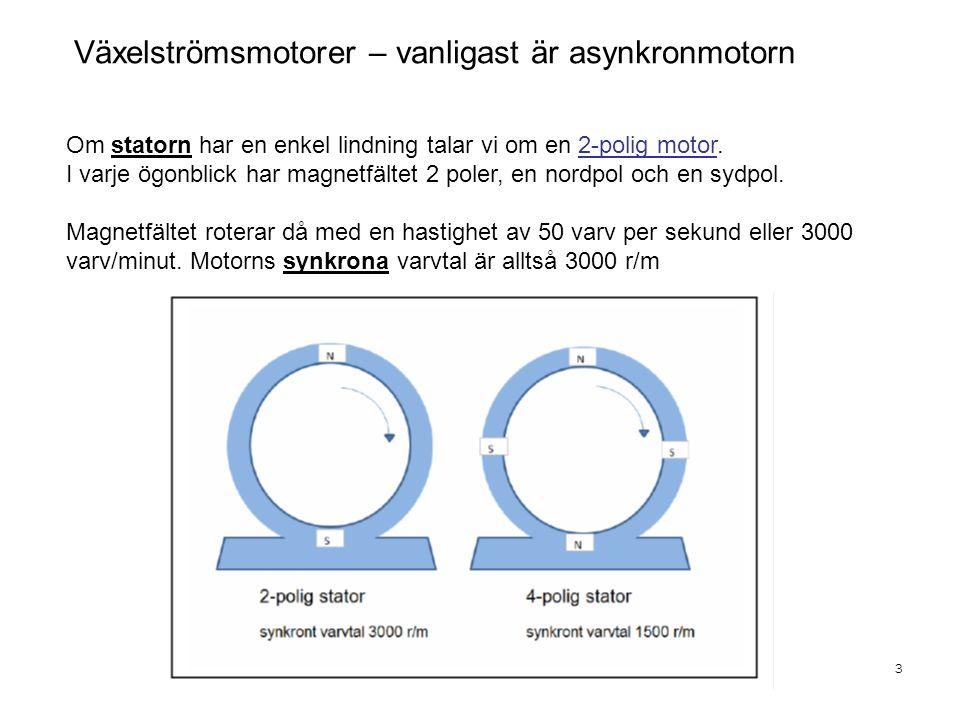 Växelströmsmotorer – vanligast är asynkronmotorn