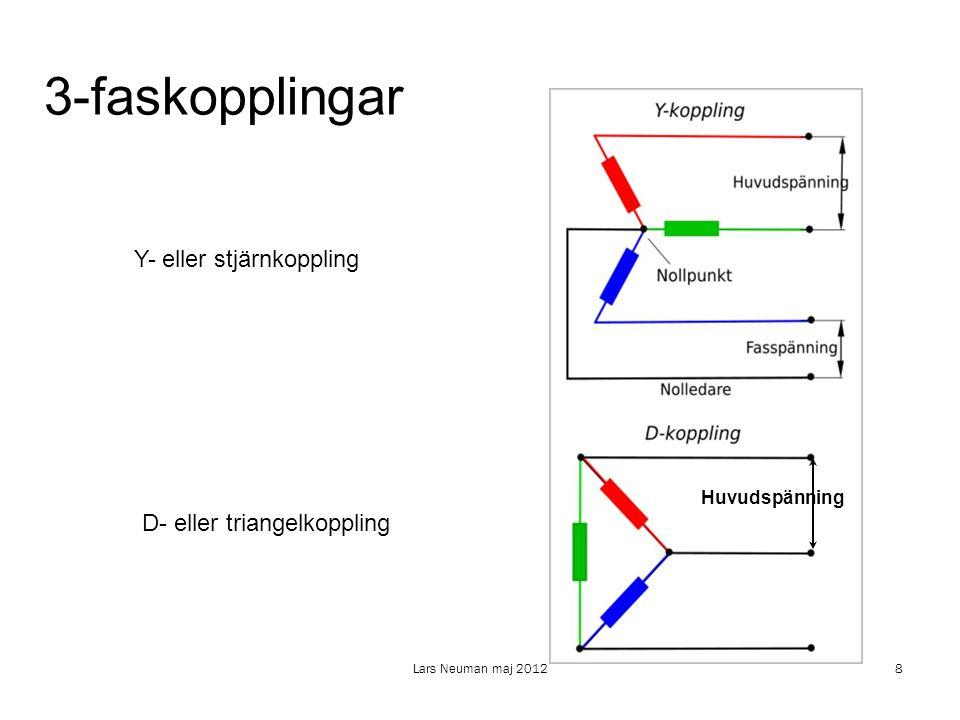 3-faskopplingar Y- eller stjärnkoppling D- eller triangelkoppling