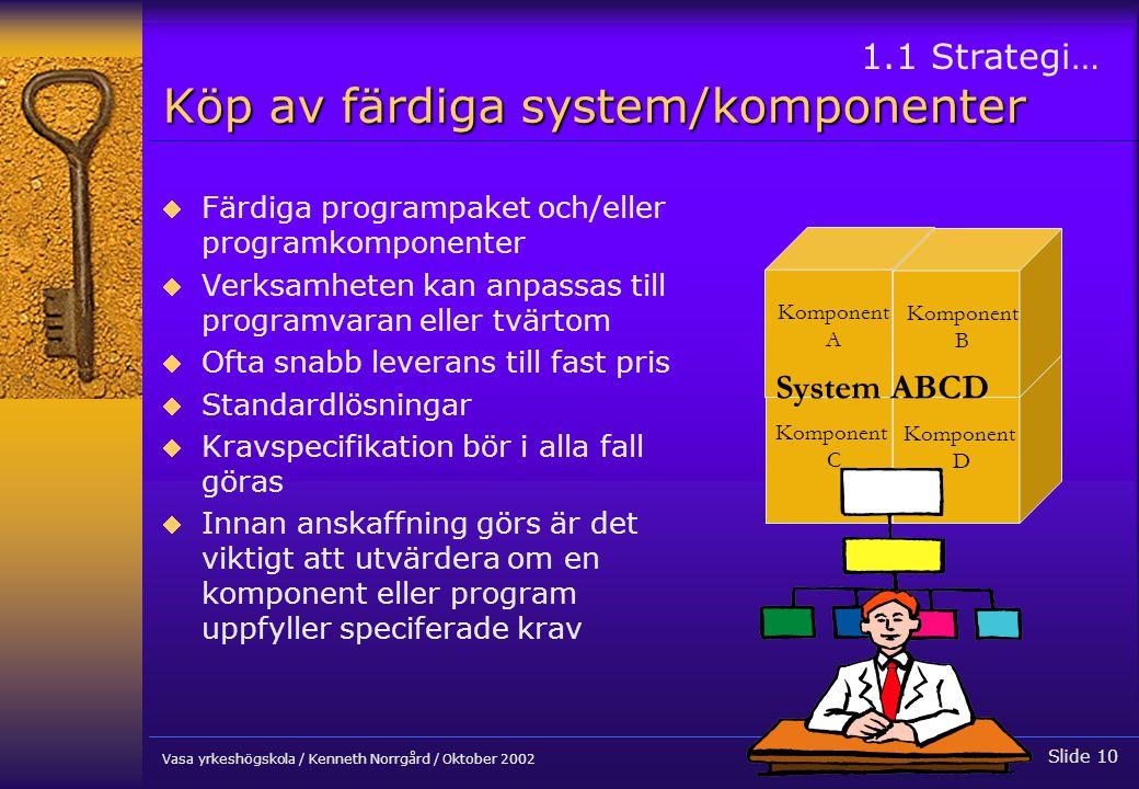 Köp av färdiga system/komponenter