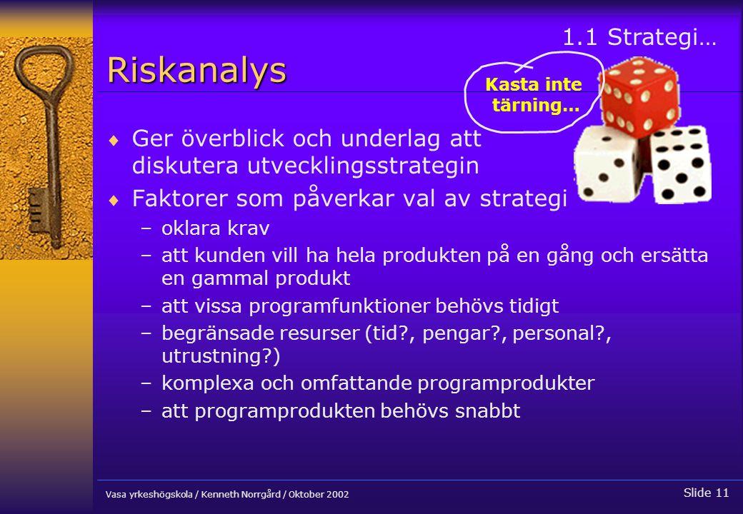 Riskanalys 1.1 Strategi… Kasta inte tärning… Ger överblick och underlag att diskutera utvecklingsstrategin.