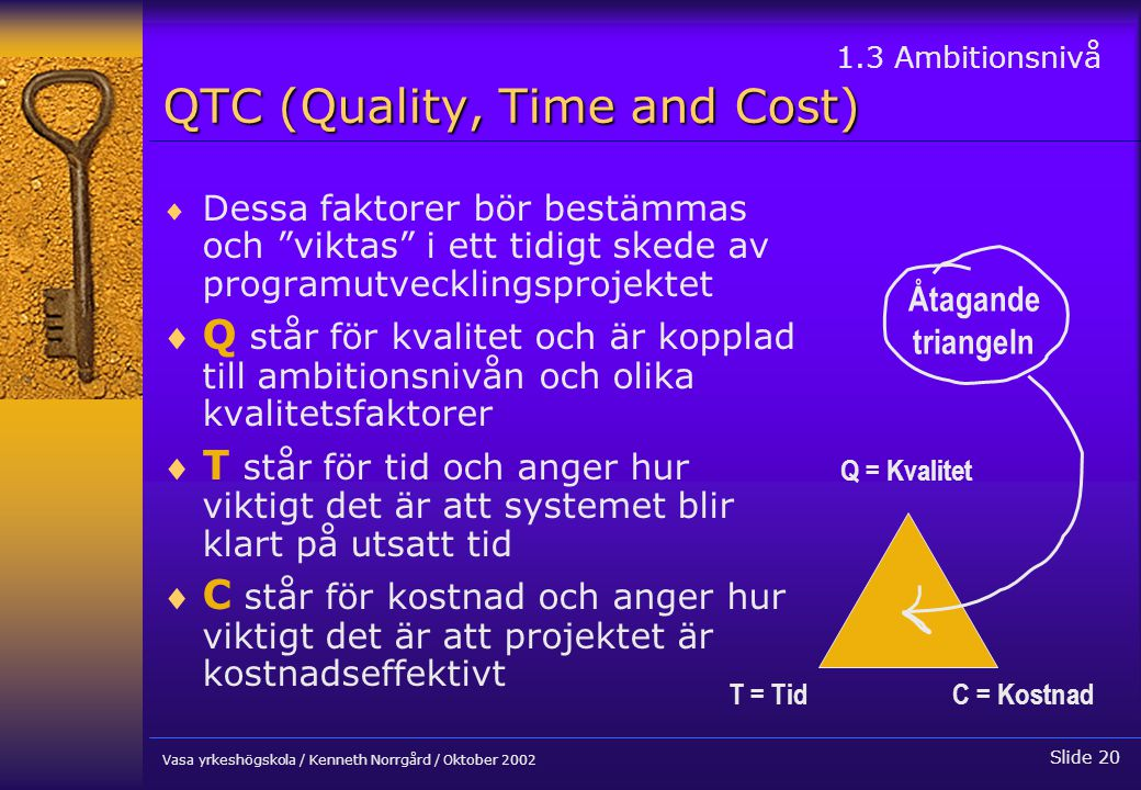 QTC (Quality, Time and Cost)