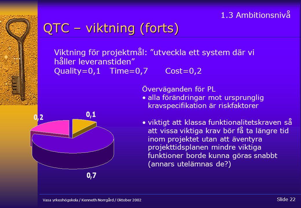 QTC – viktning (forts) … 1.3 Ambitionsnivå