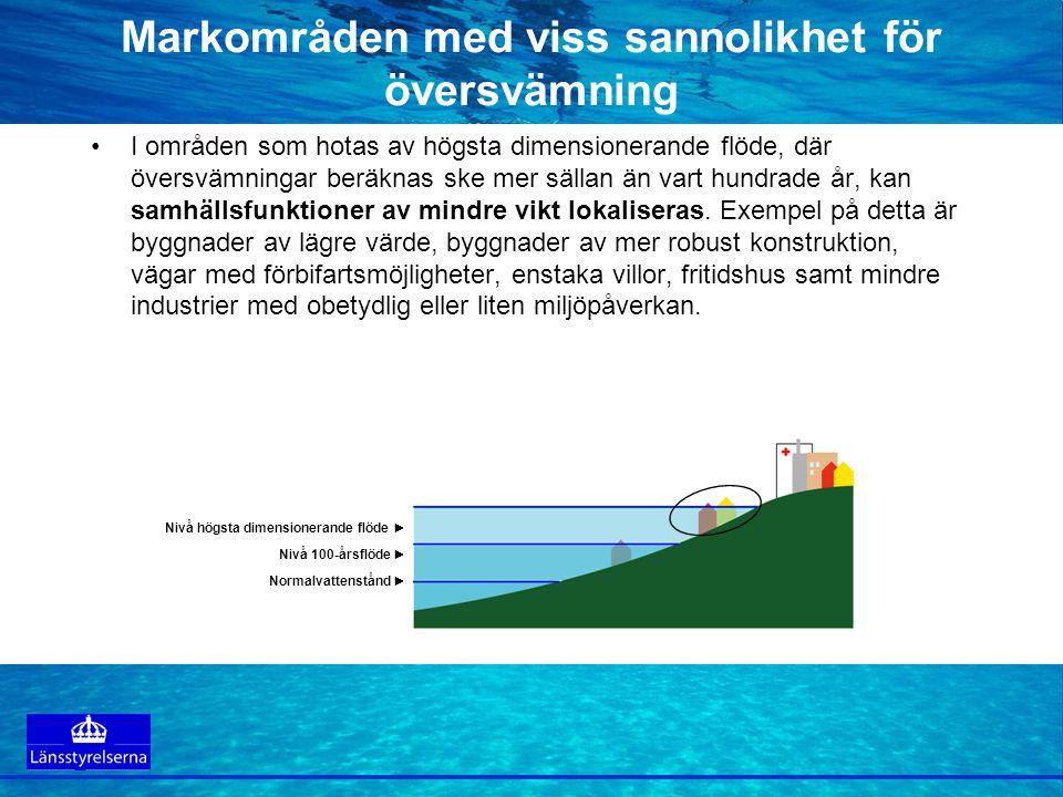 Markområden med viss sannolikhet för översvämning