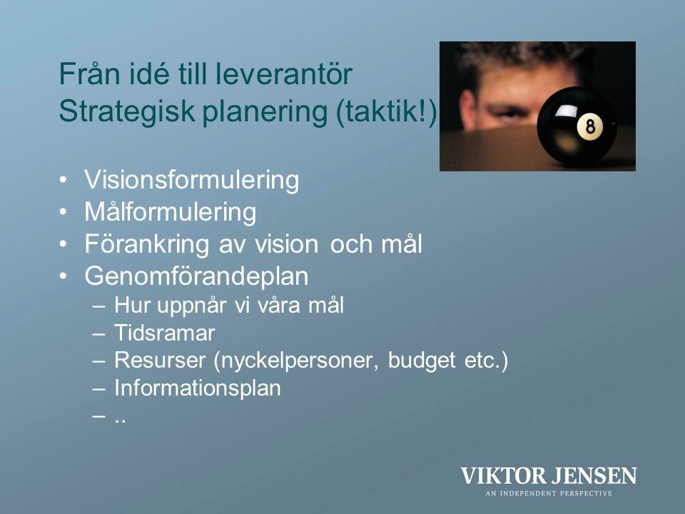Från idé till leverantör Strategisk planering (taktik!)