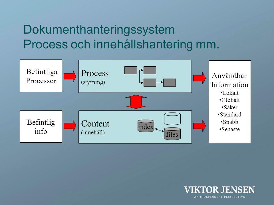 Dokumenthanteringssystem Process och innehållshantering mm.