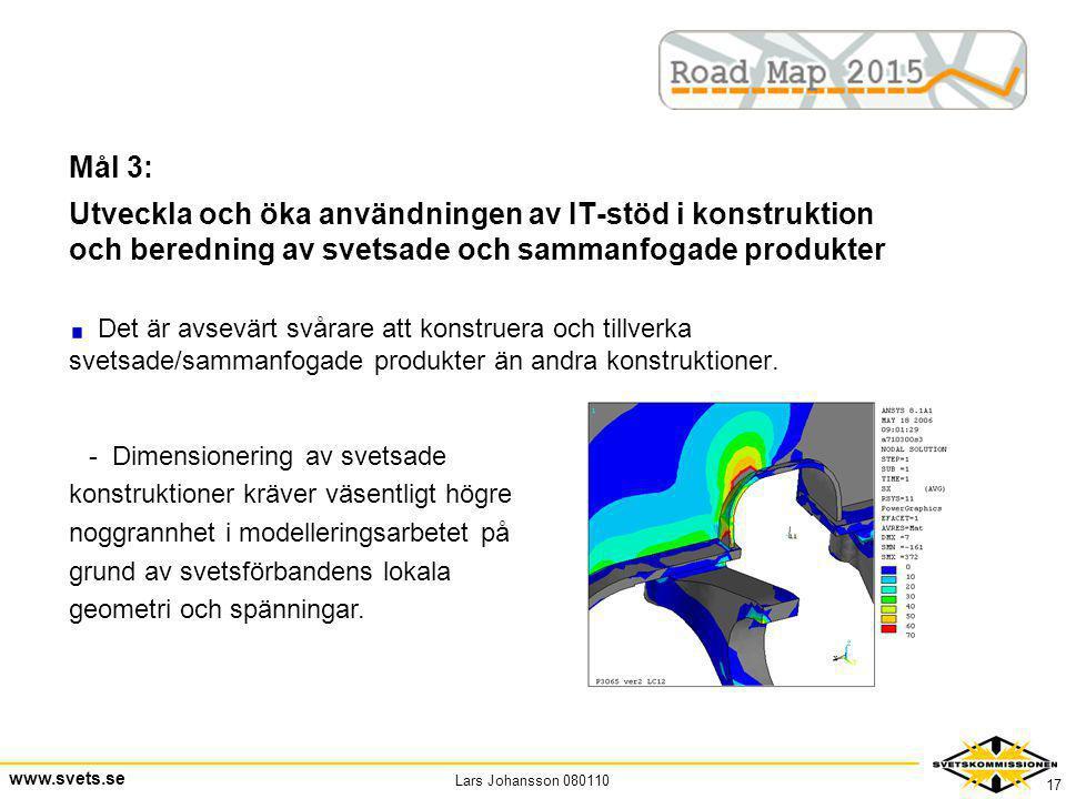 Mål 3: Utveckla och öka användningen av IT-stöd i konstruktion och beredning av svetsade och sammanfogade produkter.