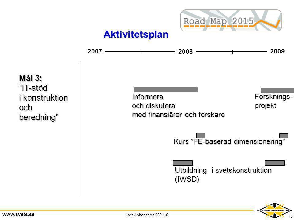 Aktivitetsplan Mål 3: IT-stöd i konstruktion och beredning Informera