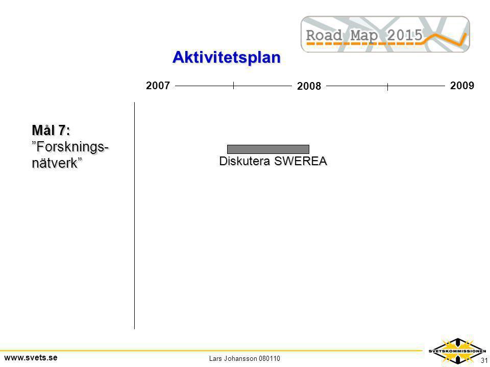 Aktivitetsplan Mål 7: Forsknings- nätverk Diskutera SWEREA 2007 2008