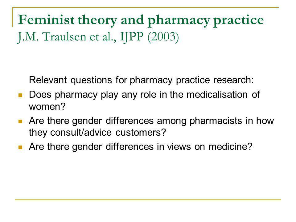 Feminist theory and pharmacy practice J. M. Traulsen et al