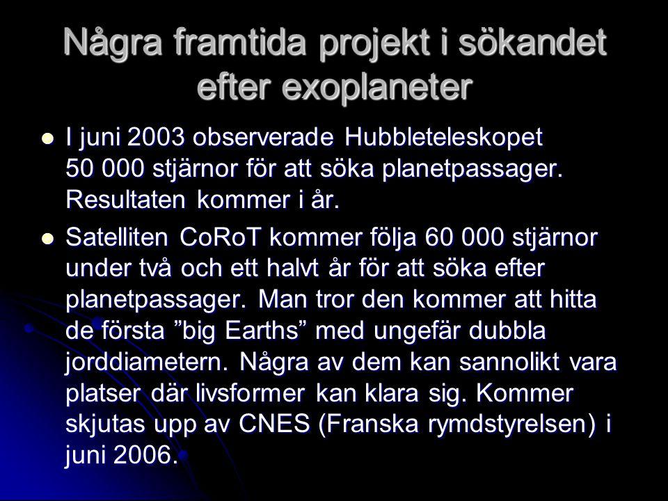 Några framtida projekt i sökandet efter exoplaneter