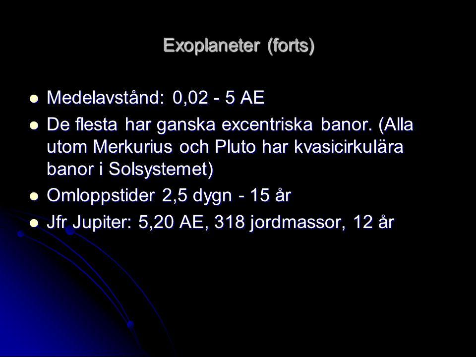 Exoplaneter (forts) Medelavstånd: 0,02 - 5 AE.