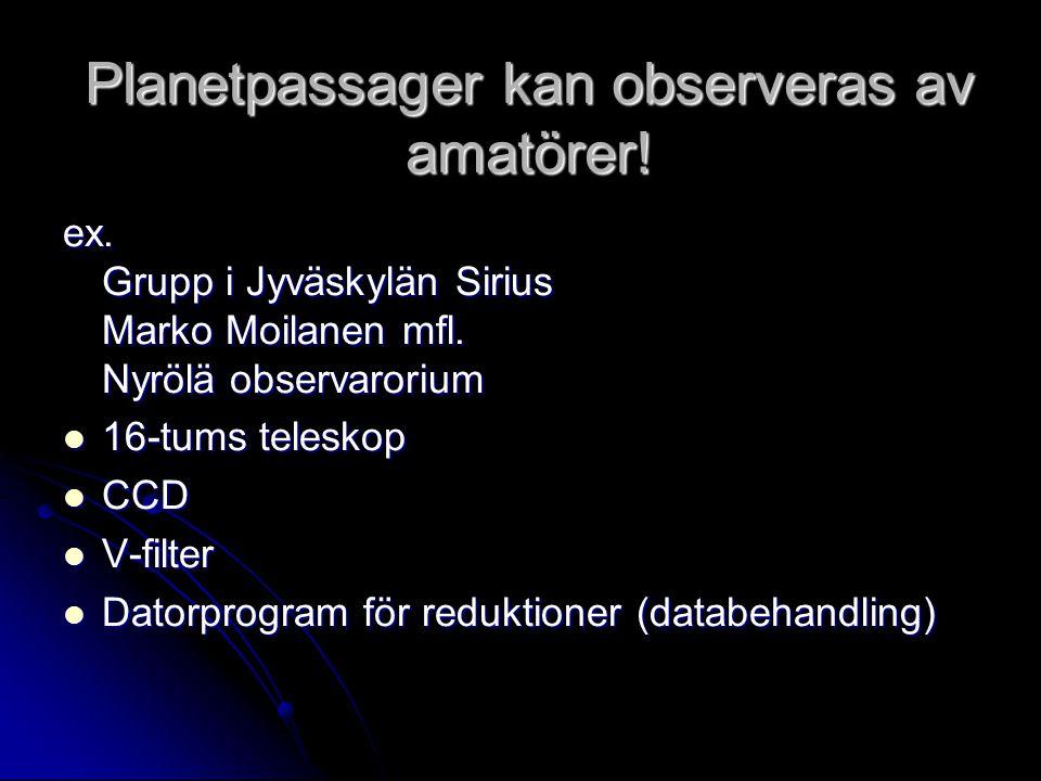 Planetpassager kan observeras av amatörer!