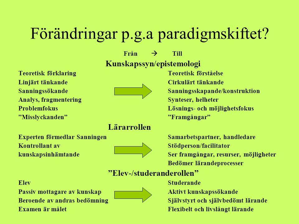 Förändringar p.g.a paradigmskiftet