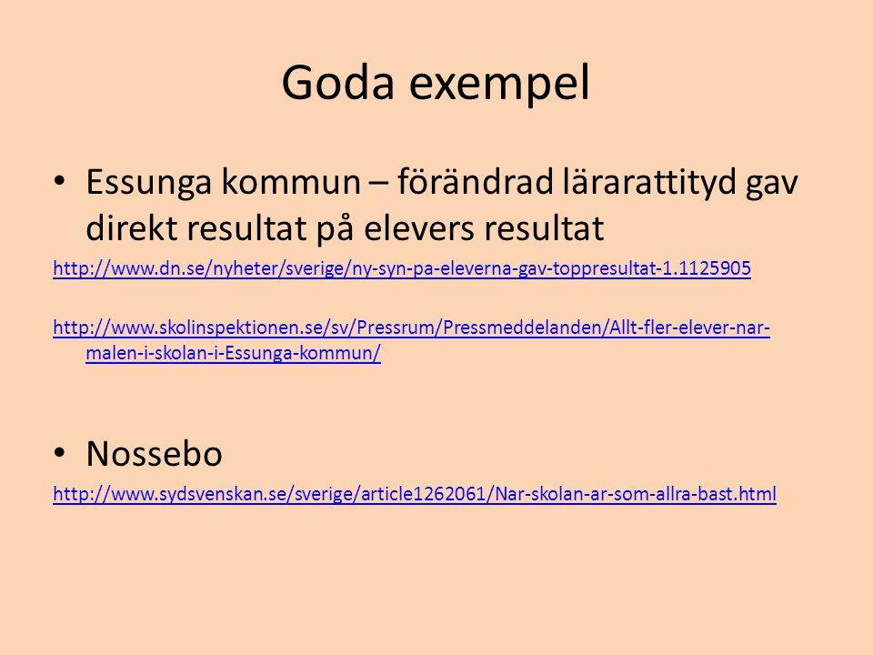 Goda exempel Essunga kommun – förändrad lärarattityd gav direkt resultat på elevers resultat.