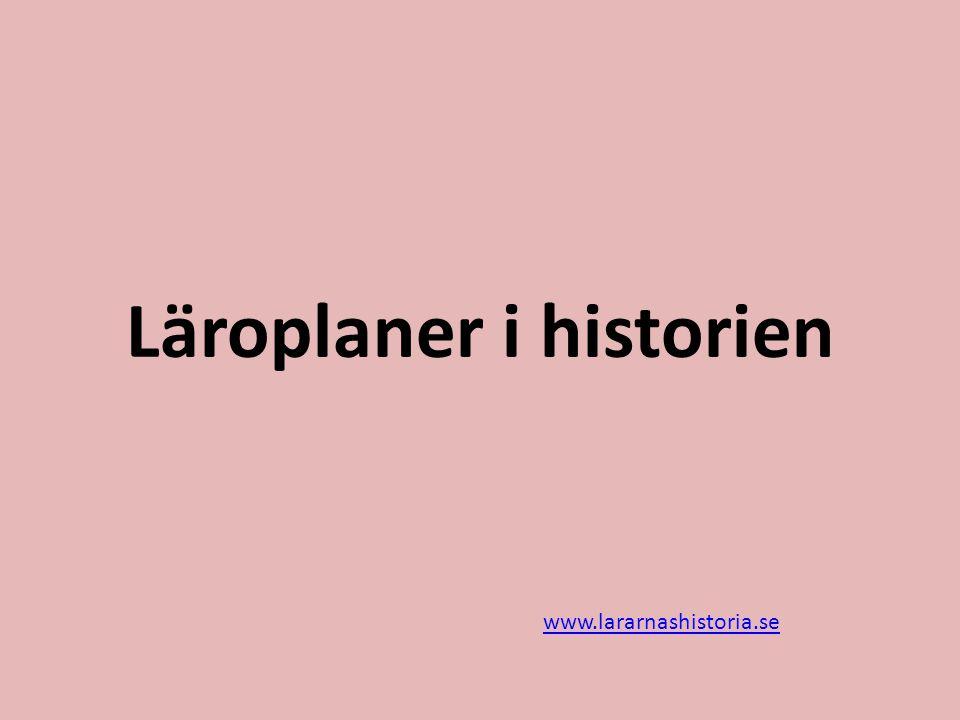 Läroplaner i historien
