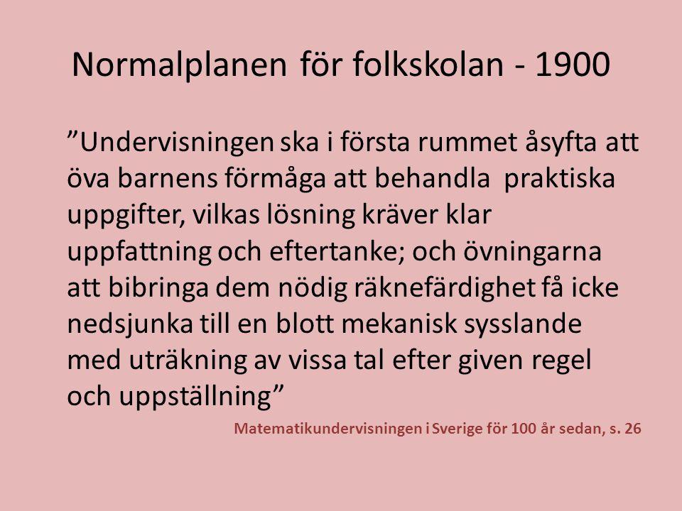 Normalplanen för folkskolan - 1900