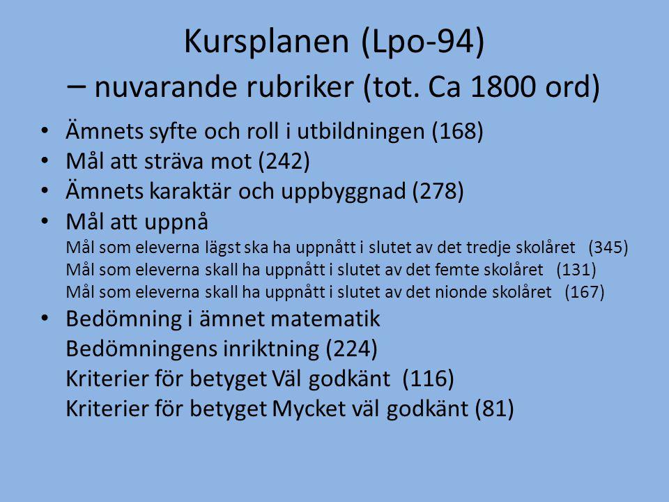Kursplanen (Lpo-94) – nuvarande rubriker (tot. Ca 1800 ord)