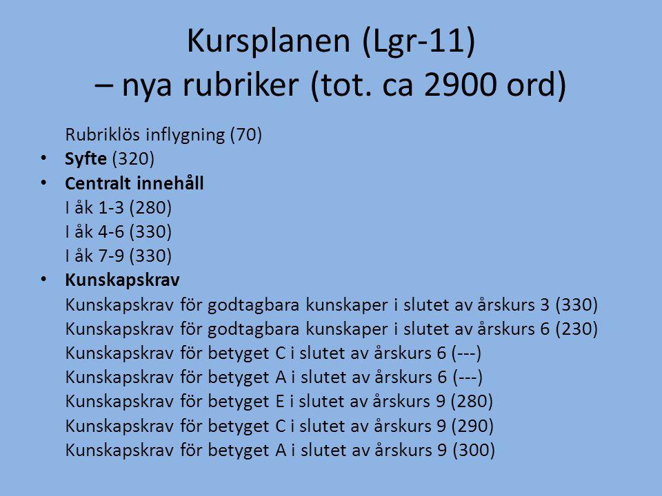 Kursplanen (Lgr-11) – nya rubriker (tot. ca 2900 ord)