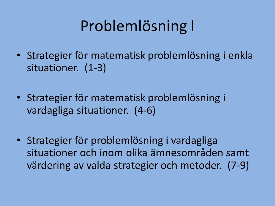 Problemlösning I Strategier för matematisk problemlösning i enkla situationer. (1-3)