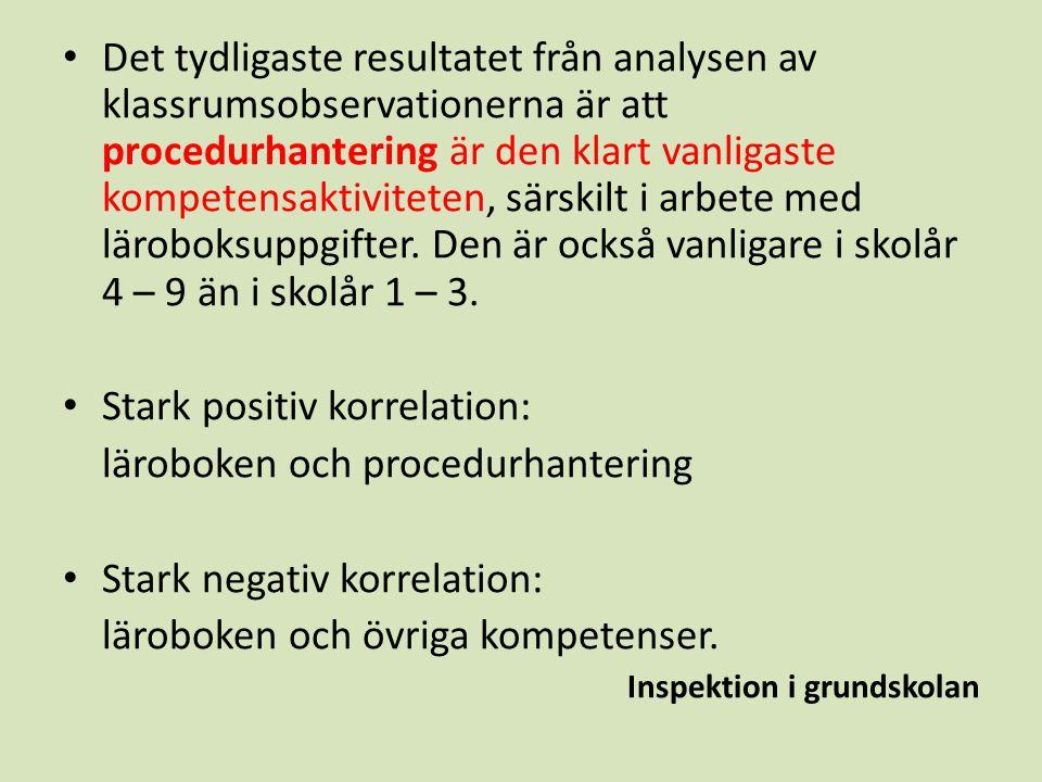 Stark positiv korrelation: läroboken och procedurhantering
