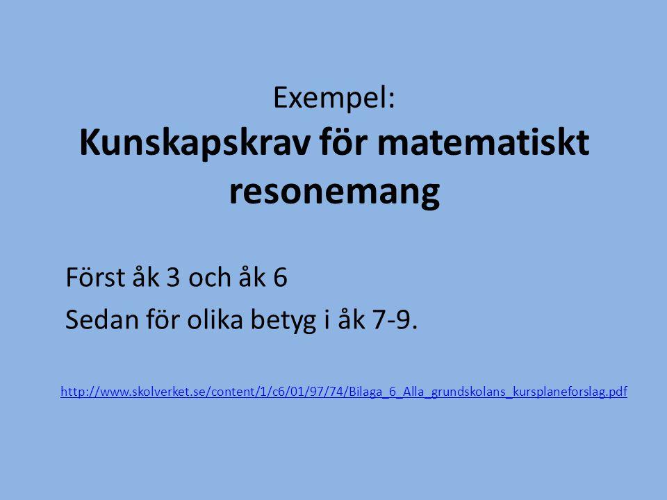 Exempel: Kunskapskrav för matematiskt resonemang