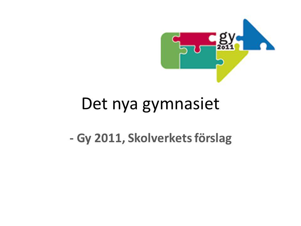 - Gy 2011, Skolverkets förslag