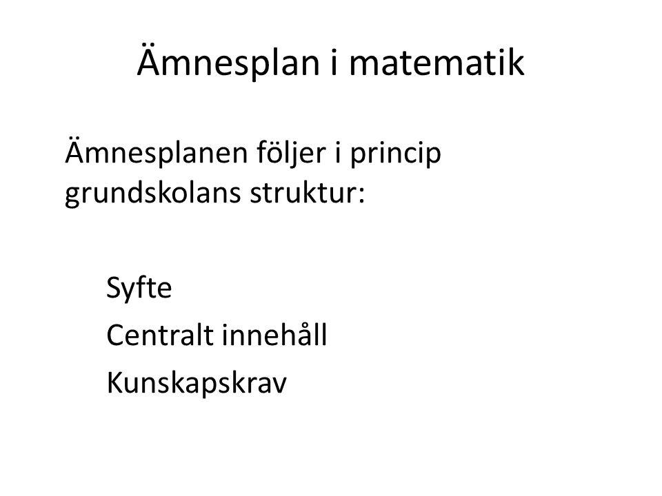 Ämnesplan i matematik Syfte Centralt innehåll Kunskapskrav
