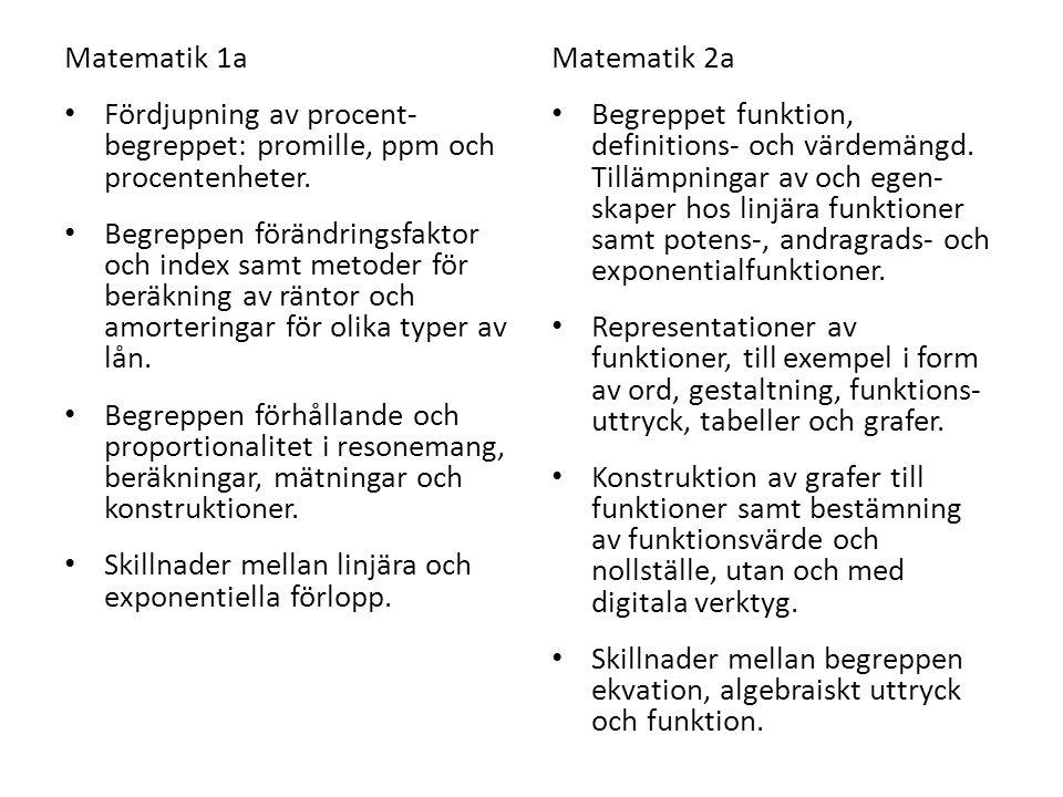 Matematik 1a Fördjupning av procent- begreppet: promille, ppm och procentenheter.