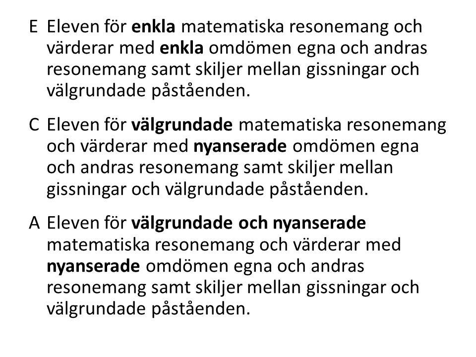 E Eleven för enkla matematiska resonemang och värderar med enkla omdömen egna och andras resonemang samt skiljer mellan gissningar och välgrundade påståenden.