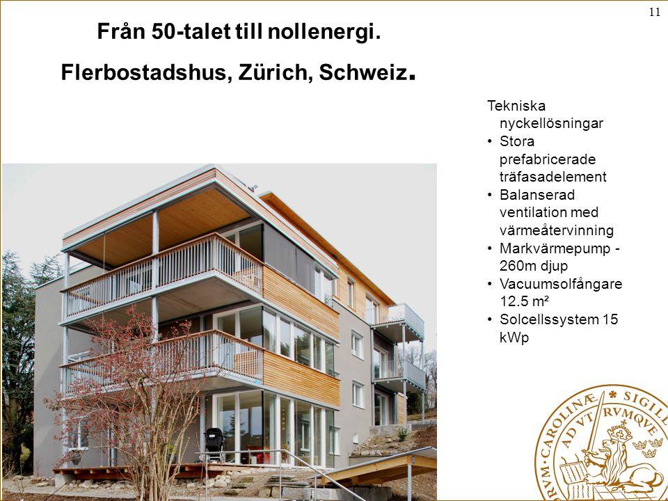 Från 50-talet till nollenergi. Flerbostadshus, Zürich, Schweiz.