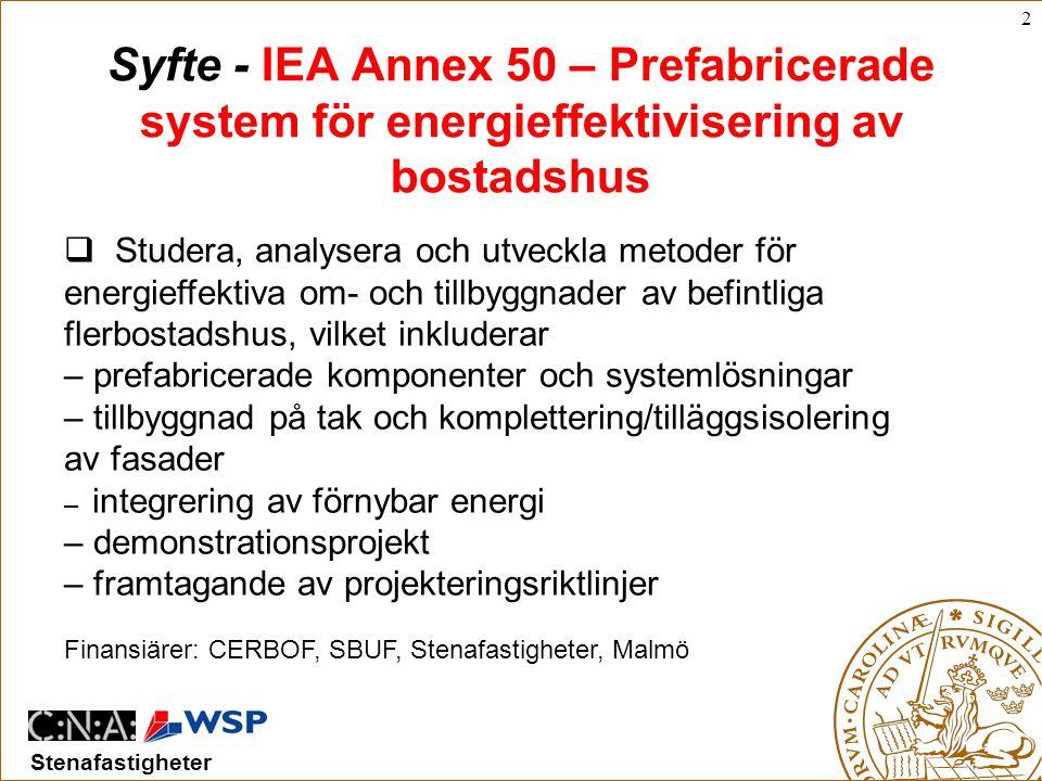 Syfte - IEA Annex 50 – Prefabricerade system för energieffektivisering av bostadshus
