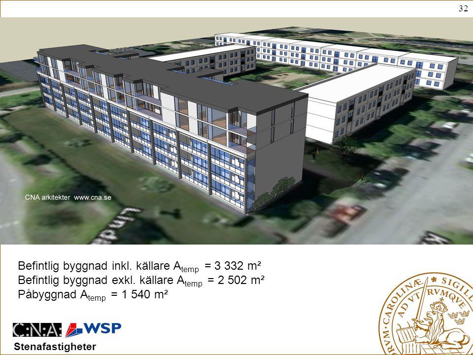 Befintlig byggnad inkl. källare Atemp = 3 332 m²
