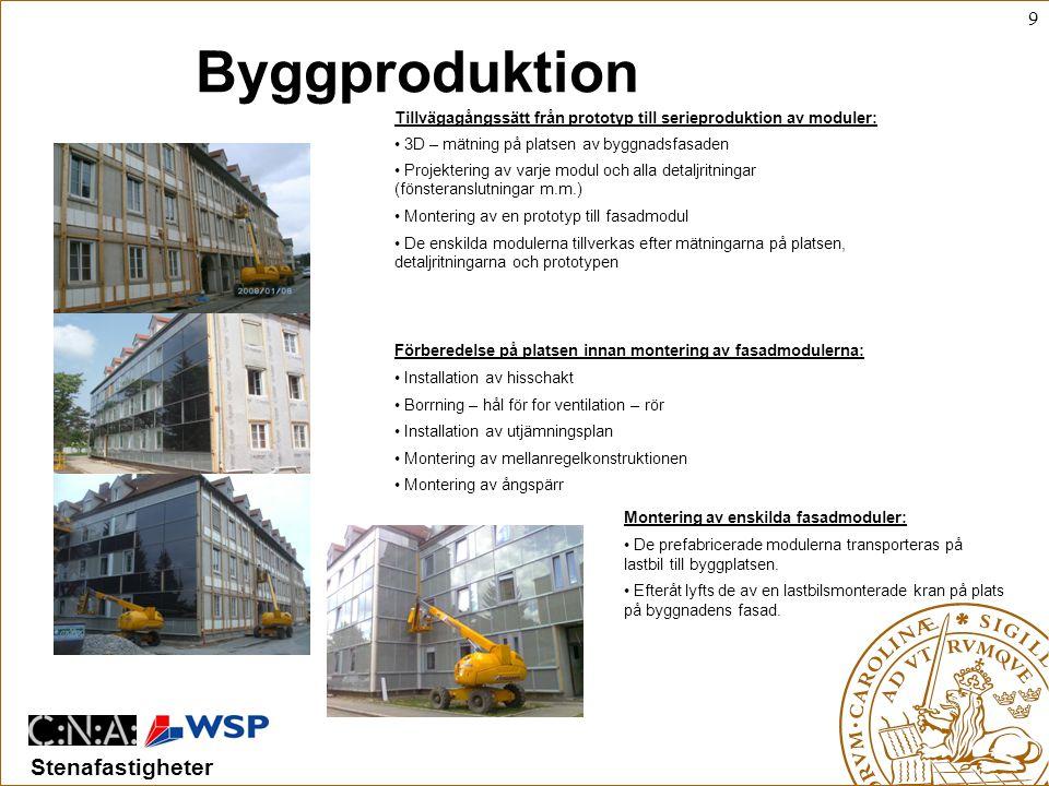 Byggproduktion Tillvägagångssätt från prototyp till serieproduktion av moduler: 3D – mätning på platsen av byggnadsfasaden.