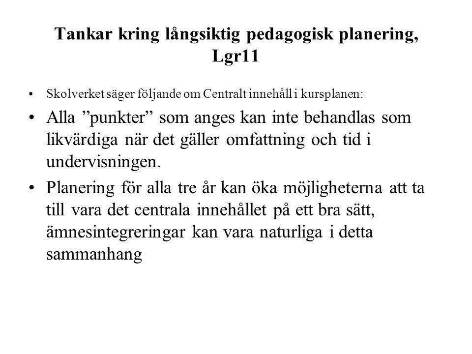 Tankar kring långsiktig pedagogisk planering, Lgr11