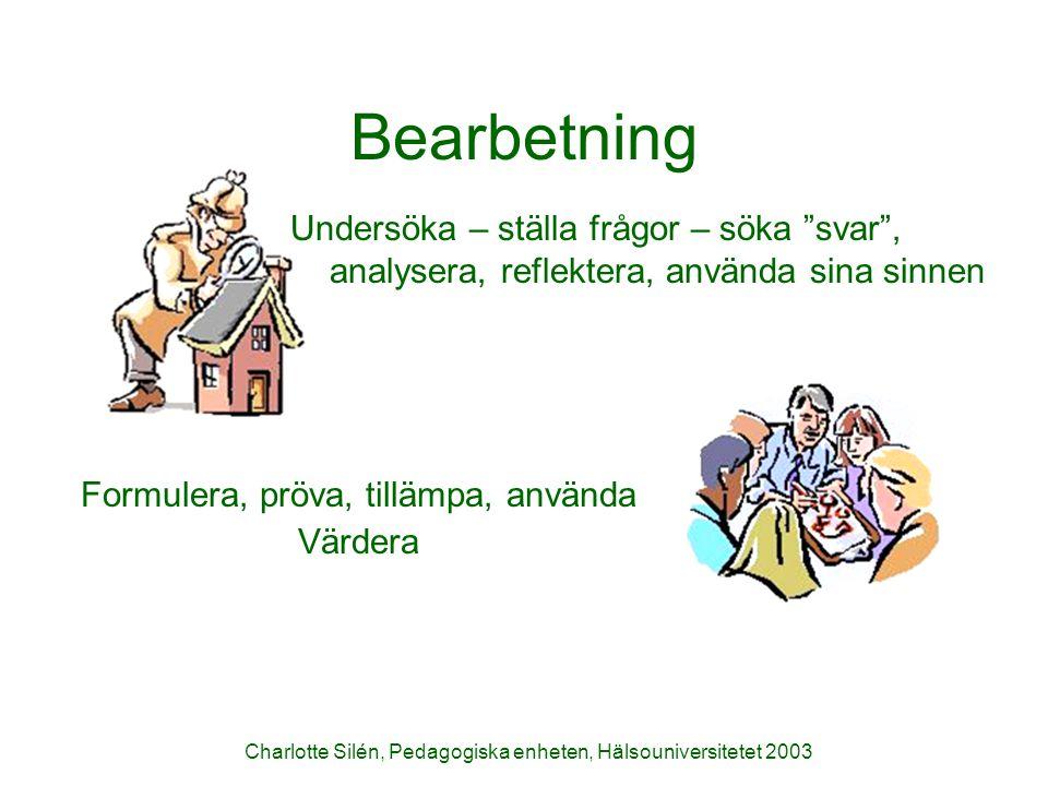 Bearbetning Undersöka – ställa frågor – söka svar , analysera, reflektera, använda sina sinnen. Formulera, pröva, tillämpa, använda.