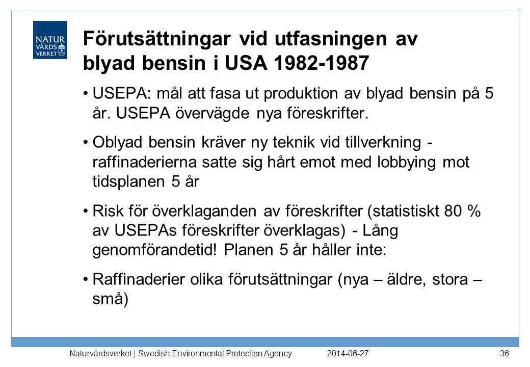 Förutsättningar vid utfasningen av blyad bensin i USA 1982-1987