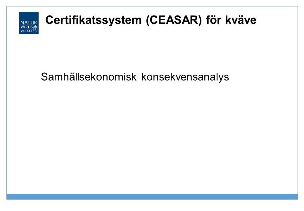 Certifikatssystem (CEASAR) för kväve