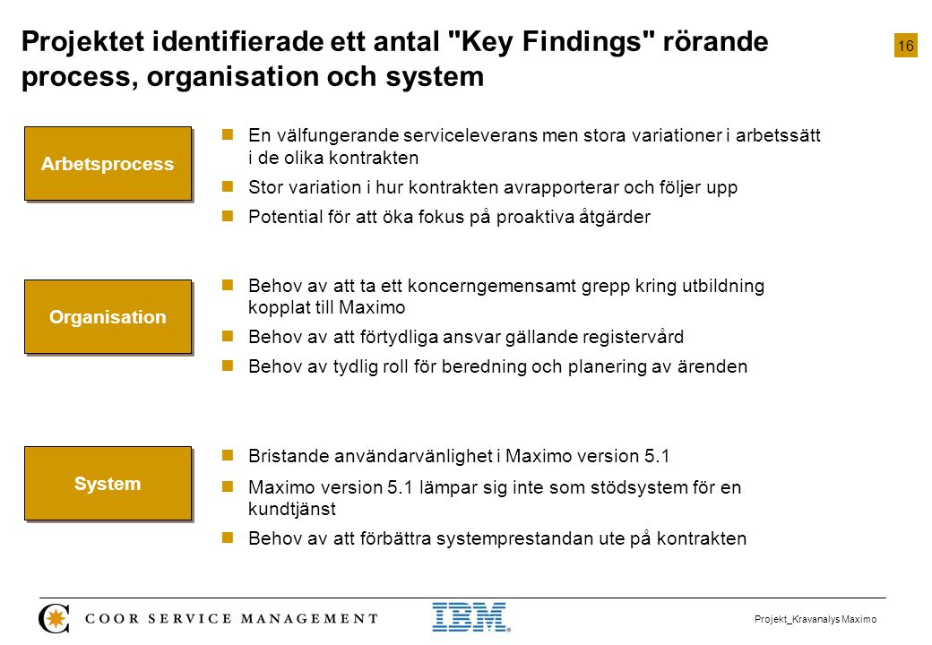 Projektet identifierade ett antal Key Findings rörande process, organisation och system