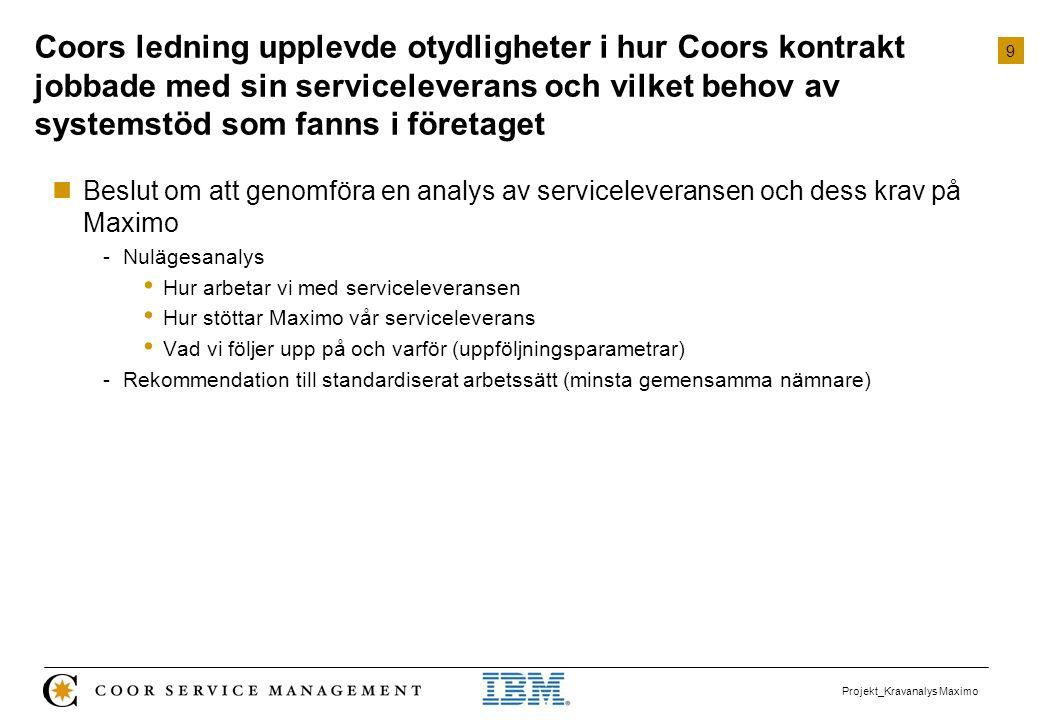 Coors ledning upplevde otydligheter i hur Coors kontrakt jobbade med sin serviceleverans och vilket behov av systemstöd som fanns i företaget